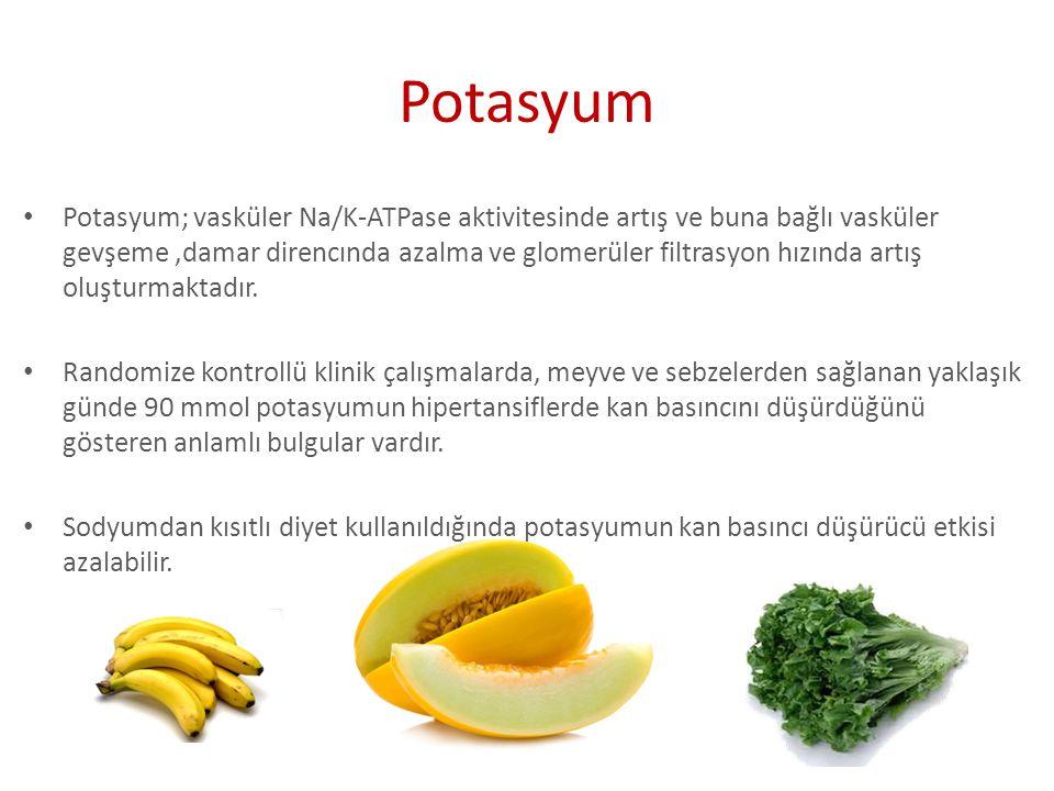 Potasyum; vasküler Na/K-ATPase aktivitesinde artış ve buna bağlı vasküler gevşeme,damar direncında azalma ve glomerüler filtrasyon hızında artış oluşt