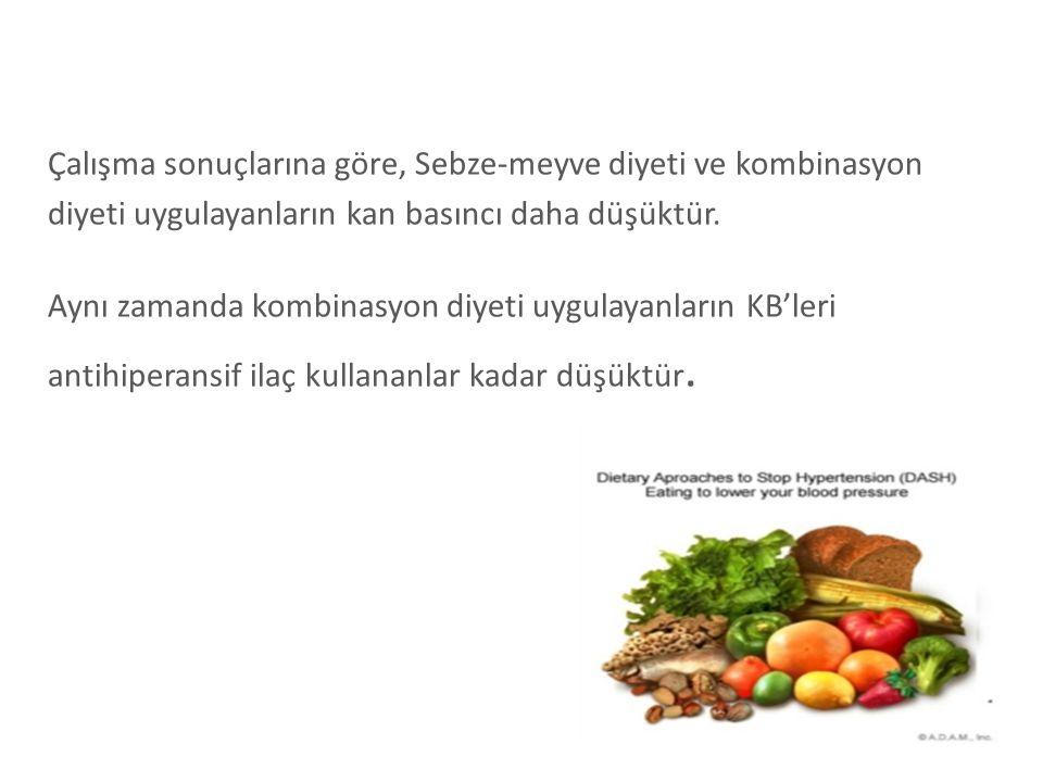 Çalışma sonuçlarına göre, Sebze-meyve diyeti ve kombinasyon diyeti uygulayanların kan basıncı daha düşüktür. Aynı zamanda kombinasyon diyeti uygulayan
