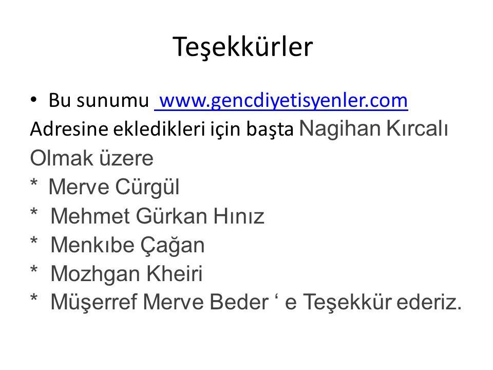 Teşekkürler Bu sunumu www.gencdiyetisyenler.com www.gencdiyetisyenler.com Adresine ekledikleri için başta Nagihan Kırcalı Olmak üzere *Merve Cürgül *