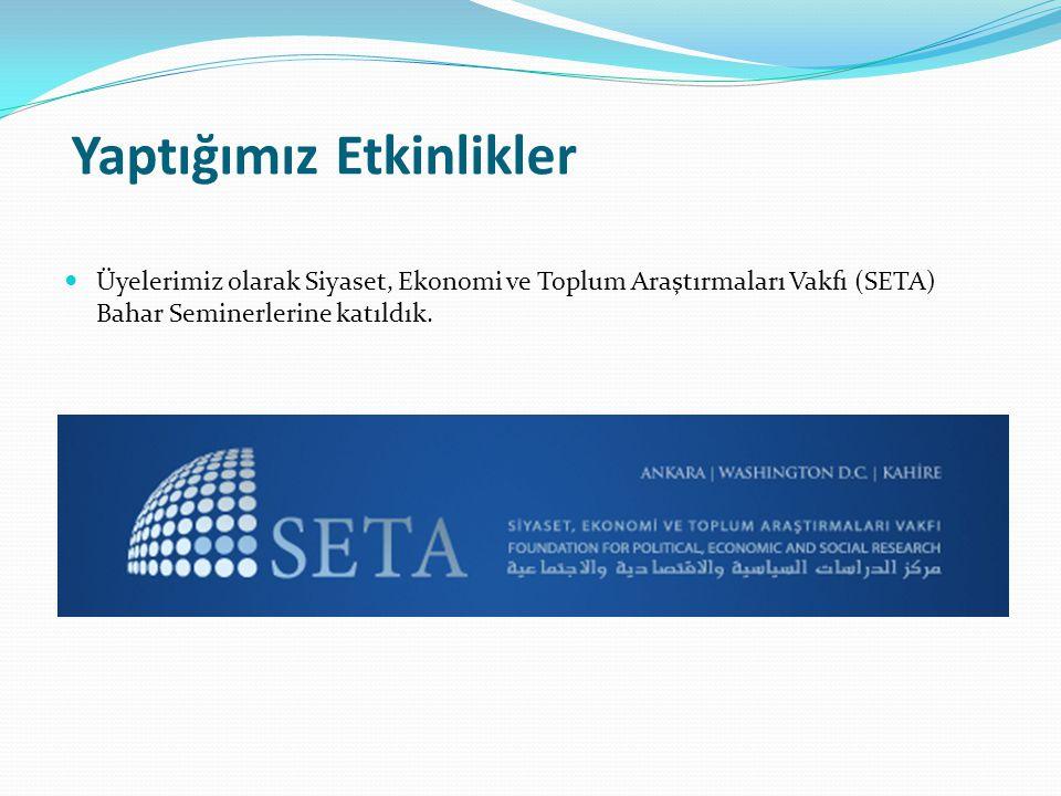 Yaptığımız Etkinlikler Üyelerimiz olarak Siyaset, Ekonomi ve Toplum Araştırmaları Vakfı (SETA) Bahar Seminerlerine katıldık.