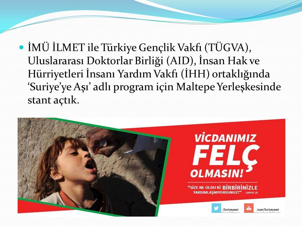 İMÜ İLMET ile Türkiye Gençlik Vakfı (TÜGVA), Uluslararası Doktorlar Birliği (AID), İnsan Hak ve Hürriyetleri İnsanı Yardım Vakfı (İHH) ortaklığında 'S
