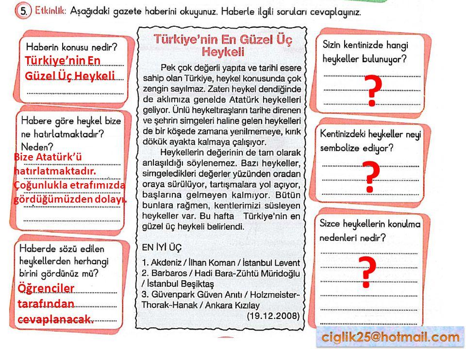 Türkiye'nin En Güzel Üç Heykeli Bize Atatürk'ü hatırlatmaktadır. Çoğunlukla etrafımızda gördüğümüzden dolayı. Öğrenciler tarafından cevaplanacak. ? ?