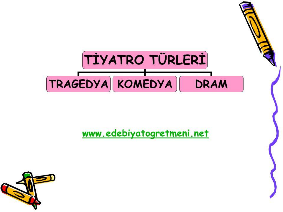 TİYATRO TÜRLERİ TRAGEDYAKOMEDYADRAM www.edebiyatogretmeni.net