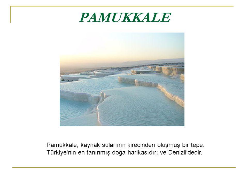PAMUKKALE Pamukkale, kaynak sularının kirecinden oluşmuş bir tepe. Türkiye'nin en tanınmış doğa harikasıdır; ve Denizli'dedir.