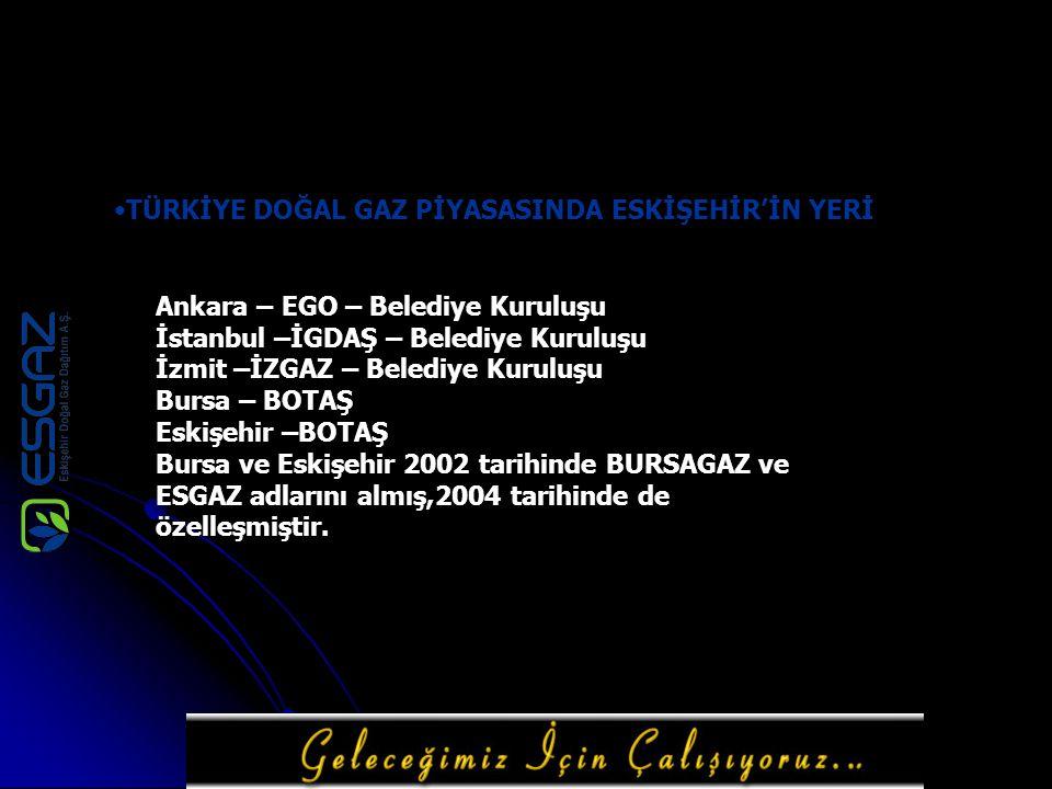 TÜRKİYE DOĞAL GAZ PİYASASINDA ESKİŞEHİR'İN YERİ Ankara – EGO – Belediye Kuruluşu İstanbul –İGDAŞ – Belediye Kuruluşu İzmit –İZGAZ – Belediye Kuruluşu Bursa – BOTAŞ Eskişehir –BOTAŞ Bursa ve Eskişehir 2002 tarihinde BURSAGAZ ve ESGAZ adlarını almış,2004 tarihinde de özelleşmiştir.