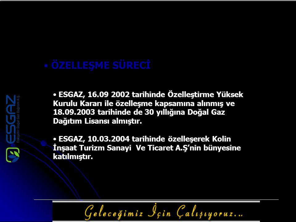 ÖZELLEŞME SÜRECİ ESGAZ, 16.09 2002 tarihinde Özelleştirme Yüksek Kurulu Kararı ile özelleşme kapsamına alınmış ve 18.09.2003 tarihinde de 30 yıllığına