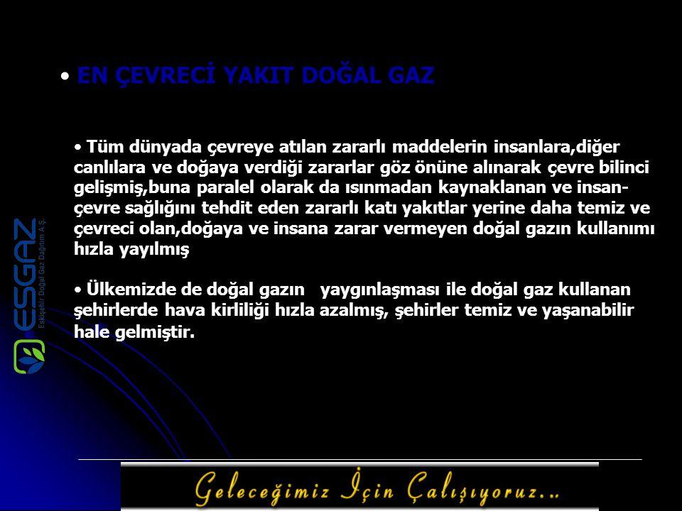 TÜRKİYE DOĞAL GAZ PİYASASINDA ESKİŞEHİR'İN YERİ Türkiye'de doğal gaz ilk olarak 1988 yılında Ankara'da kullanılmaya başlandı.Başlangıçta hava kirliliğine çözüm olarak düşünülen sonraları sanayinin vazgeçilmez enerji kaynağı olan doğal gaz,daha sonra İstanbul,Bursa, ESKİŞEHİR ve İzmit illerinde kullanıldı.