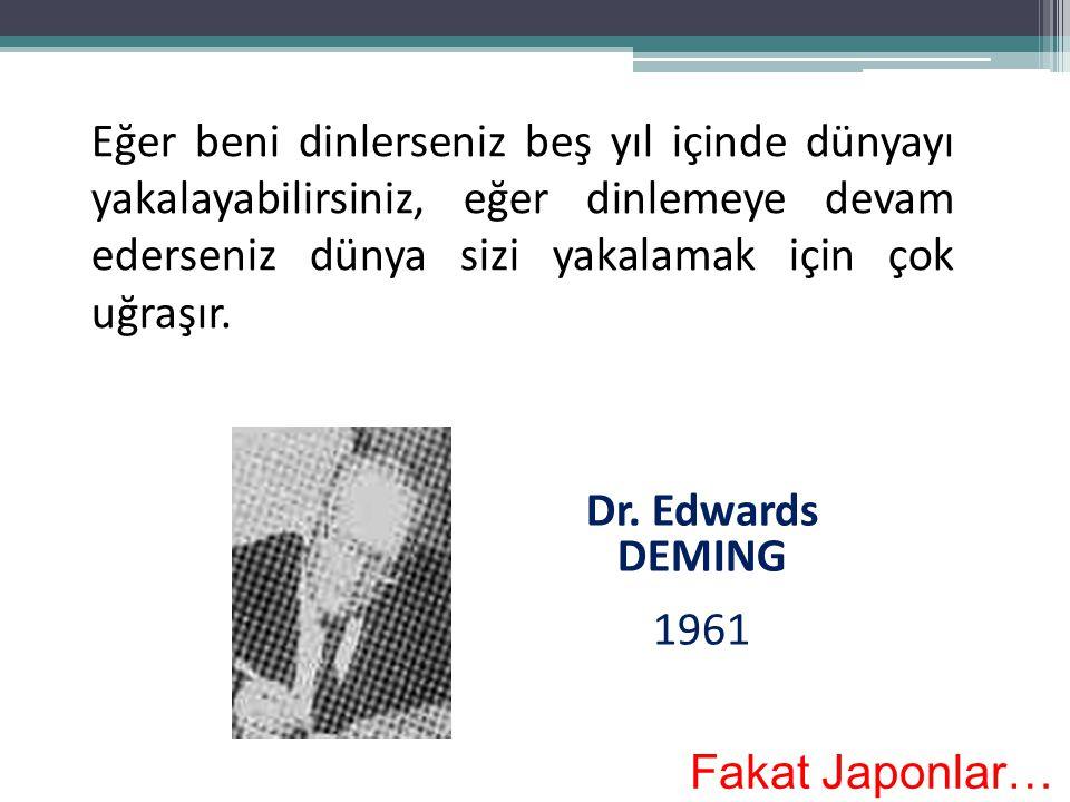 Eğer beni dinlerseniz beş yıl içinde dünyayı yakalayabilirsiniz, eğer dinlemeye devam ederseniz dünya sizi yakalamak için çok uğraşır. Dr. Edwards DEM
