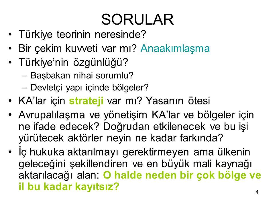 3 Türkiye: Avrupalılaşma ve Bölge Aslında Türkiye'nin AB üyeliği, Türkiye ve AB'nin Batıcı (Westernistic) bir ülkenin -yani kendi kültürünü politik ve ekonomik örgütleme açısından Batı fikirleri ile sentezlemeyi arzulayan bir ülkenin- Batı ülkesi sayılabilmek için kendini yeterince dönüştürüp dönüştüremeyeceği üzerine bir maceraya atıldıklarının göstergesidir…[böylelikle]… Türkiye kendini her türden moda kavram ve teorinin değerlendirilmesi için bir laboratuar haline getirmektedir. (Park, 2000: 9).