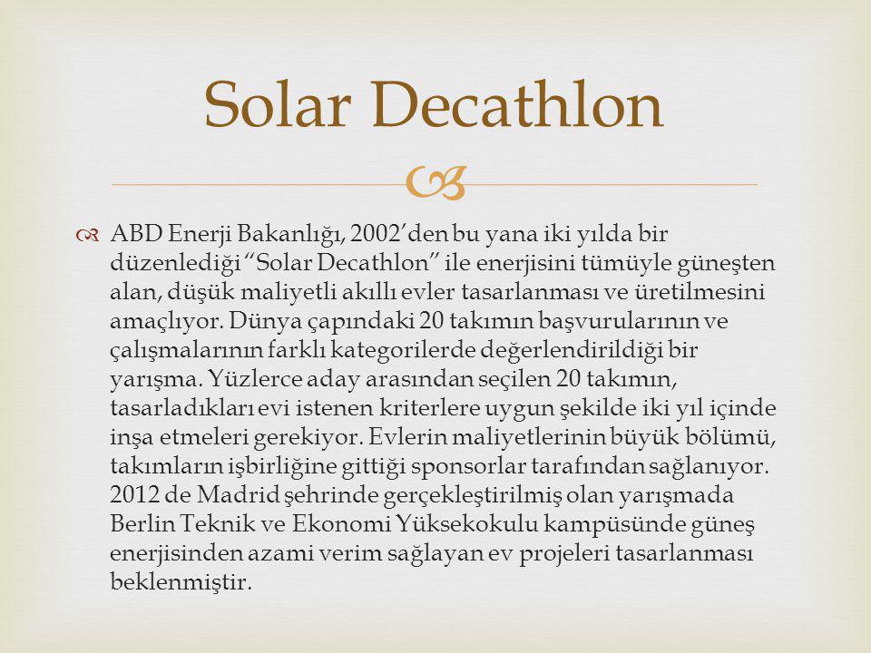   ABD Enerji Bakanlığı, 2002'den bu yana iki yılda bir düzenlediği Solar Decathlon ile enerjisini tümüyle güneşten alan, düşük maliyetli akıllı evler tasarlanması ve üretilmesini amaçlıyor.