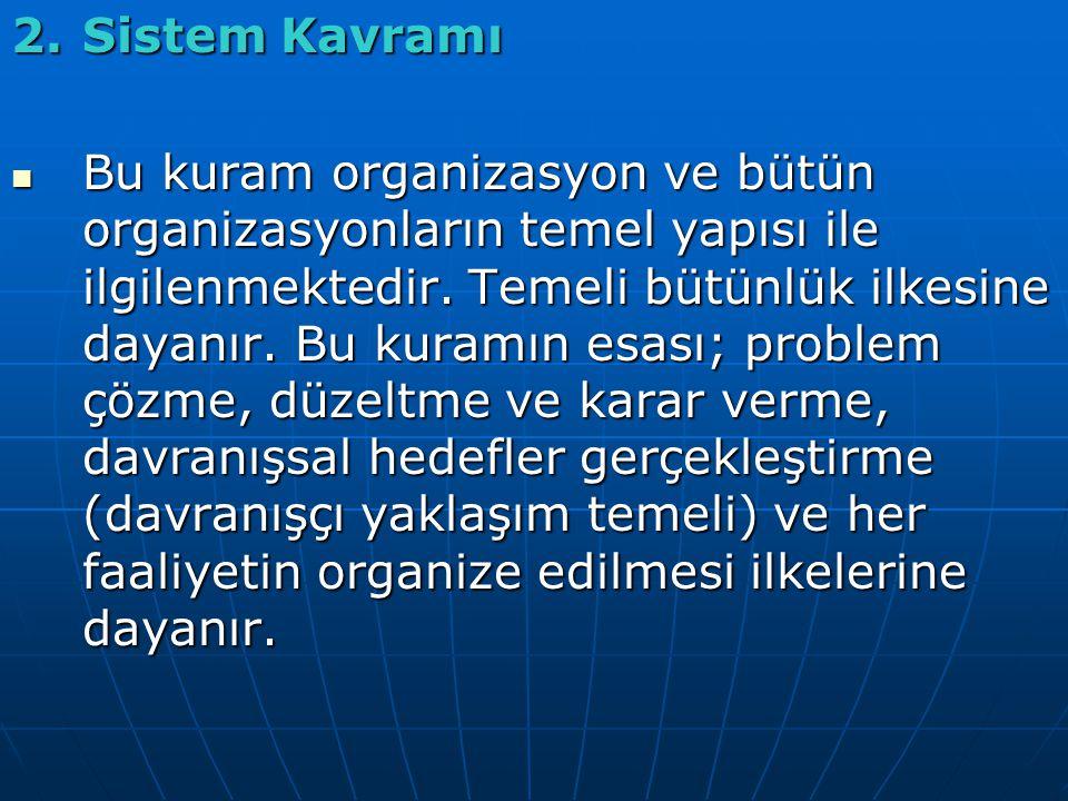 2.Sistem Kavramı Bu kuram organizasyon ve bütün organizasyonların temel yapısı ile ilgilenmektedir.