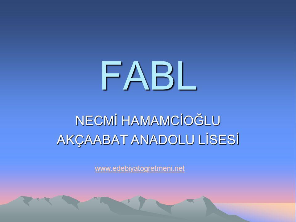 FABL NECMİ HAMAMCİOĞLU AKÇAABAT ANADOLU LİSESİ www.edebiyatogretmeni.net