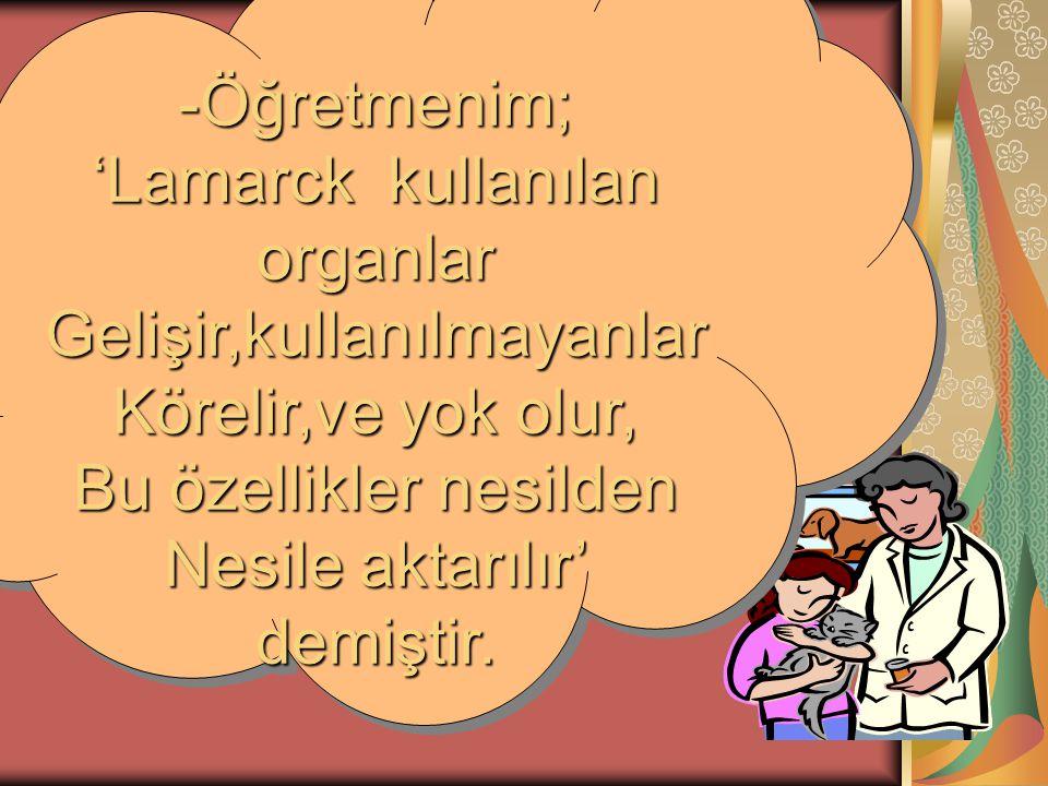 -Öğretmenim; 'Lamarck kullanılan organlar Gelişir,kullanılmayanlar Körelir,ve yok olur, Bu özellikler nesilden Nesile aktarılır' demiştir. -Öğretmenim