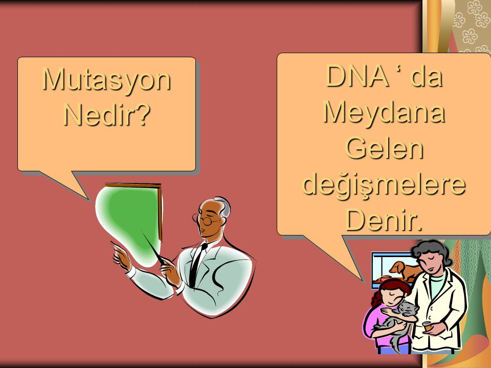DNA ' da Meydana Gelen değişmelere Denir. DNA ' da Meydana Gelen değişmelere Denir. MutasyonNedir?MutasyonNedir?