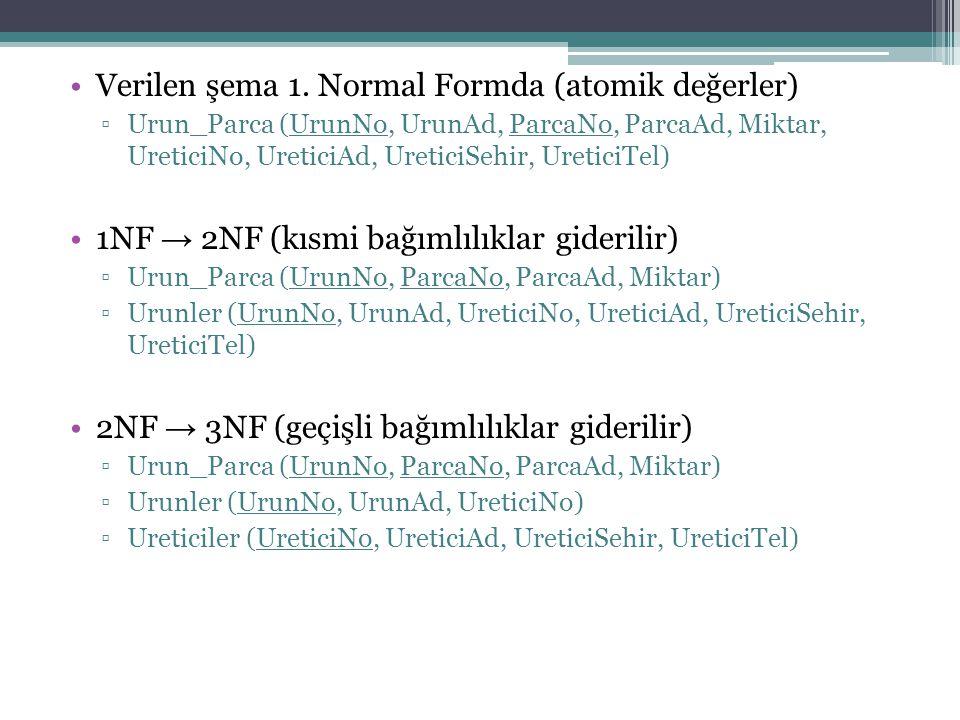 Verilen şema 1. Normal Formda (atomik değerler) ▫Urun_Parca (UrunNo, UrunAd, ParcaNo, ParcaAd, Miktar, UreticiNo, UreticiAd, UreticiSehir, UreticiTel)