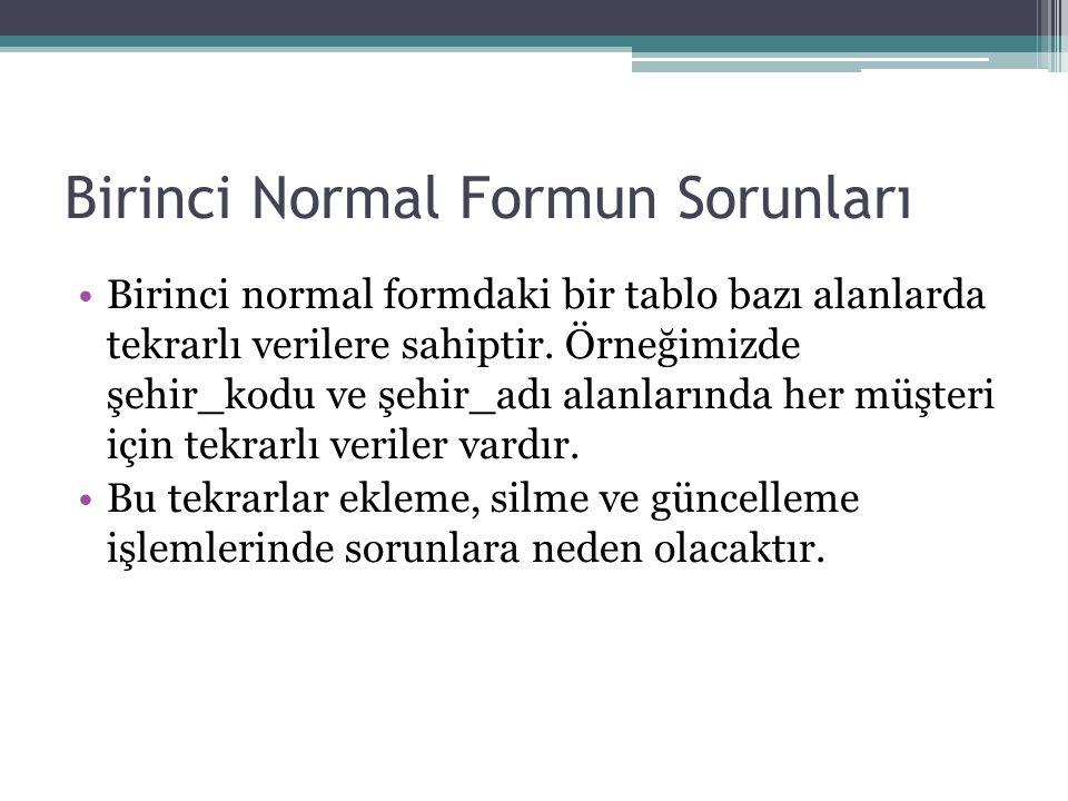 Birinci Normal Formun Sorunları Birinci normal formdaki bir tablo bazı alanlarda tekrarlı verilere sahiptir. Örneğimizde şehir_kodu ve şehir_adı alanl