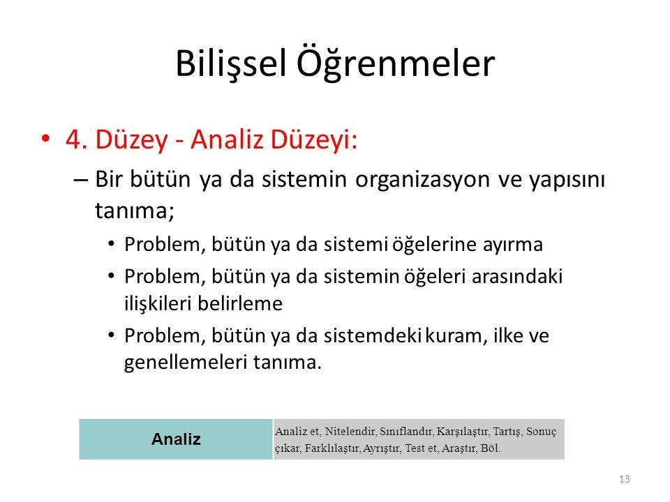 Bilişsel Öğrenmeler 4. Düzey - Analiz Düzeyi: – Bir bütün ya da sistemin organizasyon ve yapısını tanıma; Problem, bütün ya da sistemi öğelerine ayırm