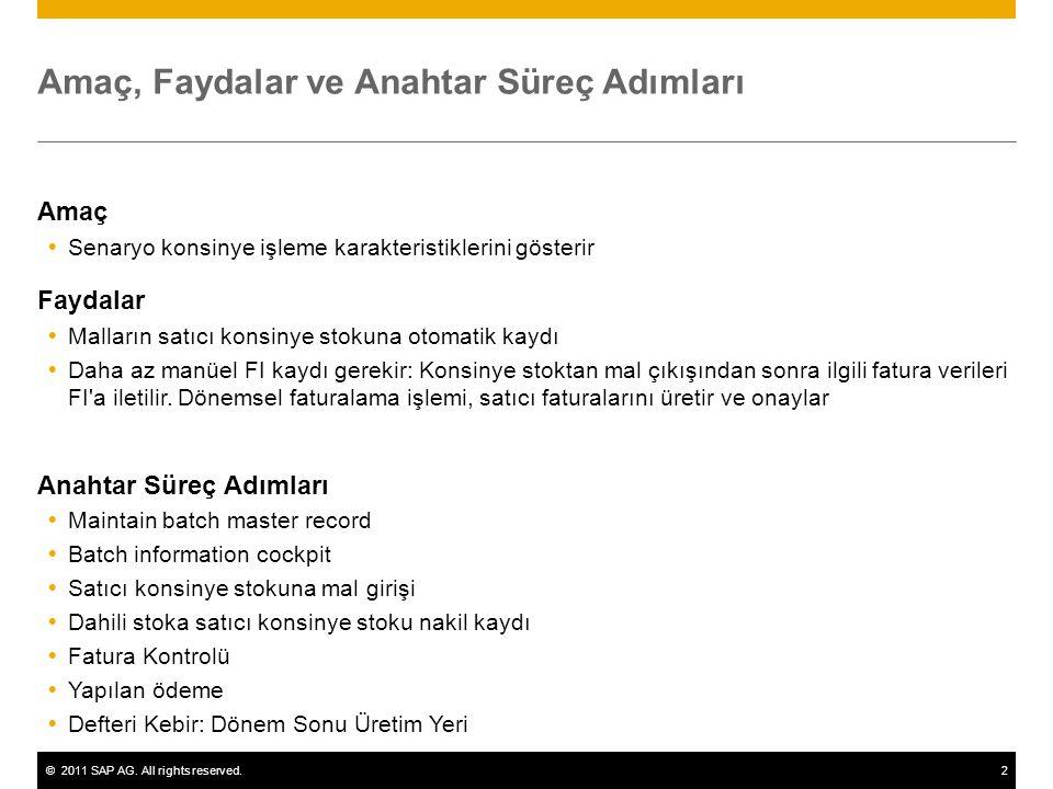 ©2011 SAP AG. All rights reserved.2 Amaç, Faydalar ve Anahtar Süreç Adımları Amaç  Senaryo konsinye işleme karakteristiklerini gösterir Faydalar  Ma