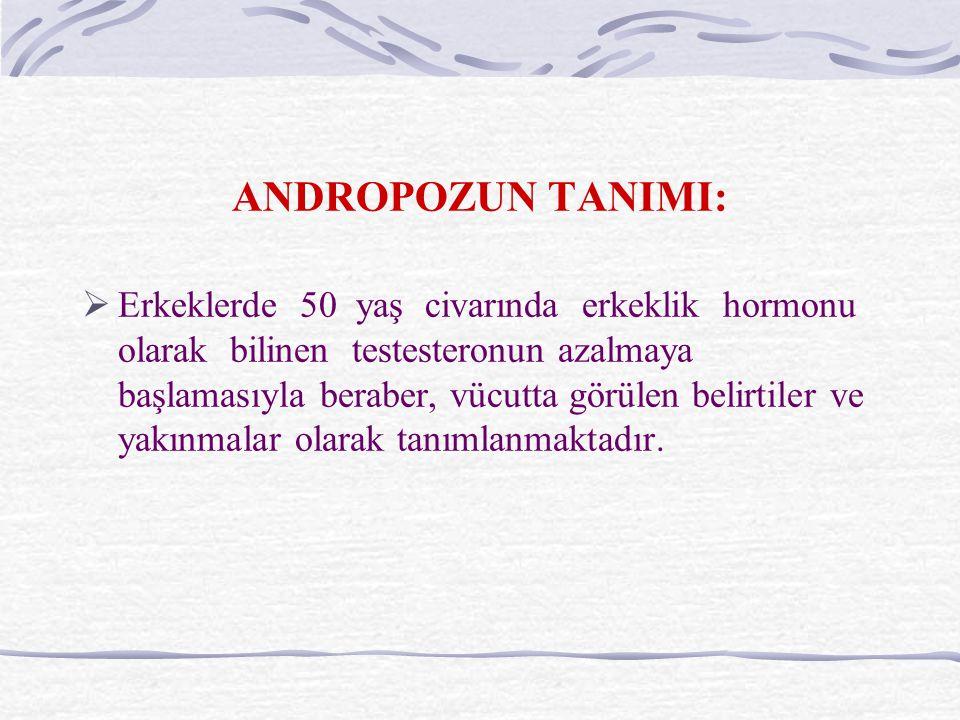 ANDROPOZUN TANIMI:  Erkeklerde 50 yaş civarında erkeklik hormonu olarak bilinen testesteronun azalmaya başlamasıyla beraber, vücutta görülen belirtiler ve yakınmalar olarak tanımlanmaktadır.