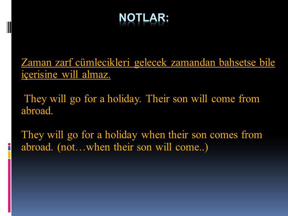 Zaman zarf cümlecikleri gelecek zamandan bahsetse bile içerisine will almaz. They will go for a holiday. Their son will come from abroad. They will go