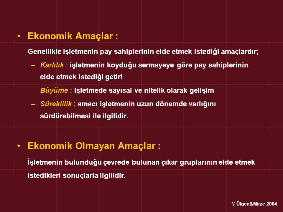 Ekonomik Amaçlar : Genellikle işletmenin pay sahiplerinin elde etmek istediği amaçlardır; –Karlılık : işletmenin koyduğu sermayeye göre pay sahiplerin