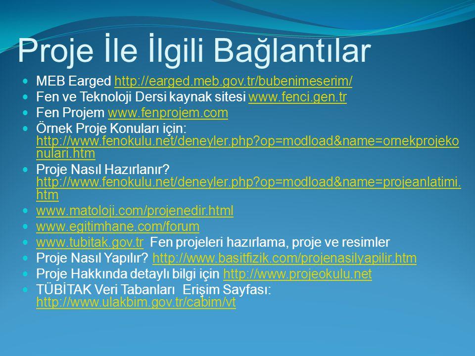 Proje İle İlgili Bağlantılar MEB Earged http://earged.meb.gov.tr/bubenimeserim/http://earged.meb.gov.tr/bubenimeserim/ Fen ve Teknoloji Dersi kaynak sitesi www.fenci.gen.trwww.fenci.gen.tr Fen Projem www.fenprojem.comwww.fenprojem.com Örnek Proje Konuları için: http://www.fenokulu.net/deneyler.php?op=modload&name=ornekprojeko nulari.htm http://www.fenokulu.net/deneyler.php?op=modload&name=ornekprojeko nulari.htm Proje Nasıl Hazırlanır.