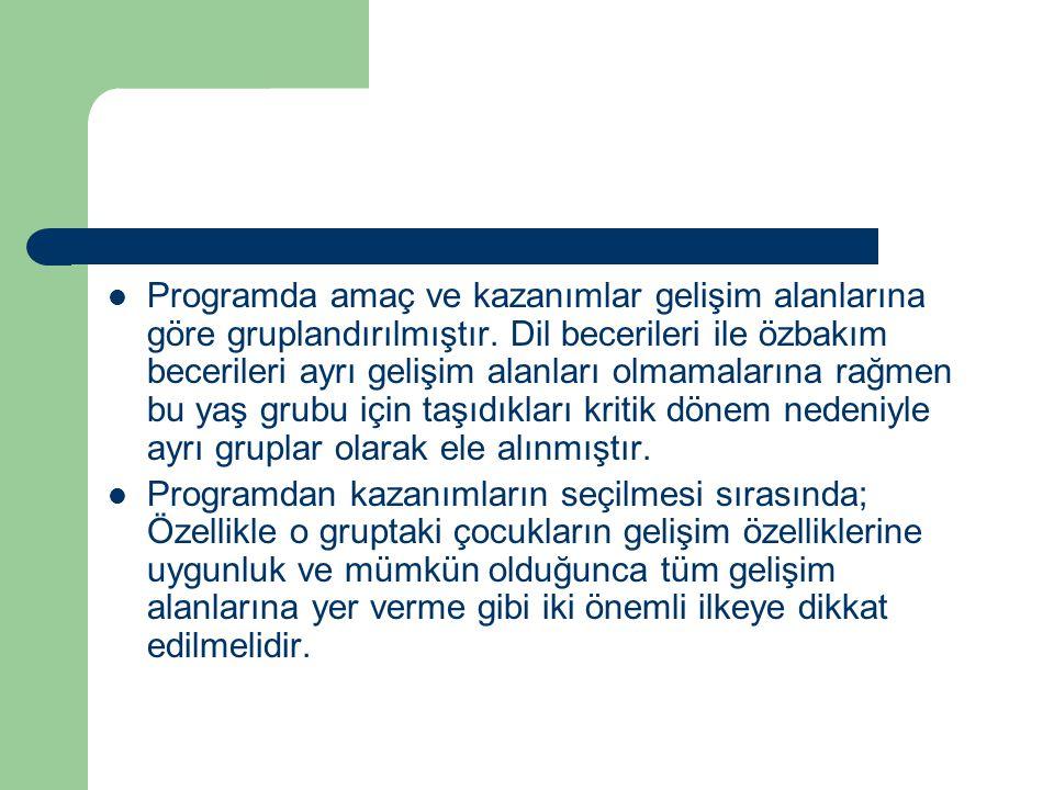Programda amaç ve kazanımlar gelişim alanlarına göre gruplandırılmıştır.