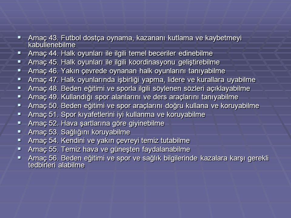  Amaç 44. Halk oyunları ile ilgili temel beceriler edinebilme  Amaç 45. Halk oyunları ile ilgili koordinasyonu geliştirebilme  Amaç 46. Yakın çevre