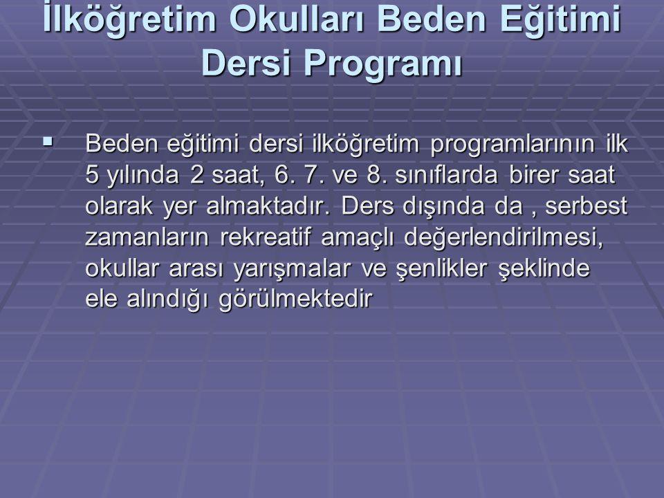İlköğretim Okulları Beden Eğitimi Dersi Programı  Beden eğitimi dersi ilköğretim programlarının ilk 5 yılında 2 saat, 6. 7. ve 8. sınıflarda birer sa