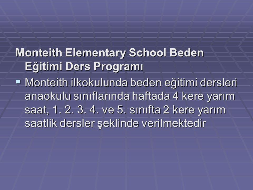 Monteith Elementary School Beden Eğitimi Ders Programı  Monteith ilkokulunda beden eğitimi dersleri anaokulu sınıflarında haftada 4 kere yarım saat,
