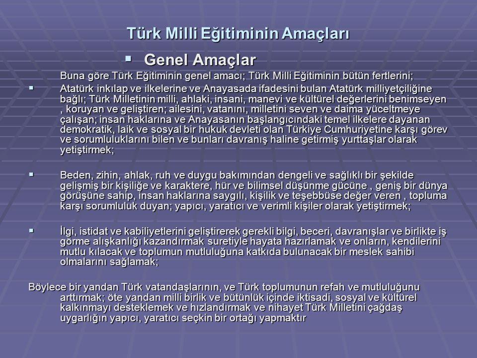 Türk Milli Eğitiminin Amaçları  Genel Amaçlar Buna göre Türk Eğitiminin genel amacı; Türk Milli Eğitiminin bütün fertlerini;  Atatürk inkılap ve ilk