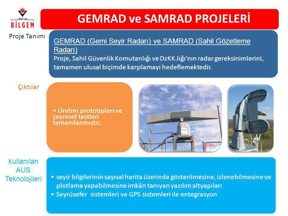 GEMRAD ve SAMRAD PROJELERİ Üretim prototipleri ve çevresel testleri tamamlanmıştır. GEMRAD (Gemi Seyir Radarı) ve SAMRAD (Sahil Gözetleme Radarı) Proj