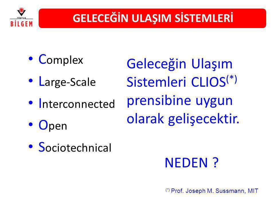 C omplex L arge-Scale I nterconnected O pen S ociotechnical Geleceğin Ulaşım Sistemleri CLIOS (*) prensibine uygun olarak gelişecektir. NEDEN ? (*) Pr
