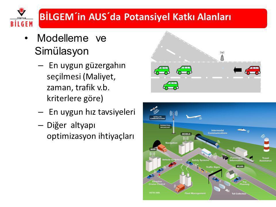 Modelleme ve Simülasyon – En uygun güzergahın seçilmesi (Maliyet, zaman, trafik v.b. kriterlere göre) – En uygun hız tavsiyeleri – Diğer altyapı optim