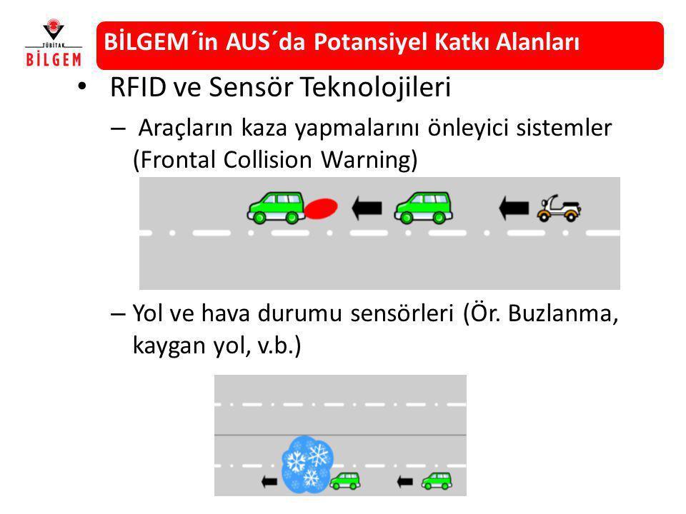 RFID ve Sensör Teknolojileri – Araçların kaza yapmalarını önleyici sistemler (Frontal Collision Warning) – Yol ve hava durumu sensörleri (Ör. Buzlanma