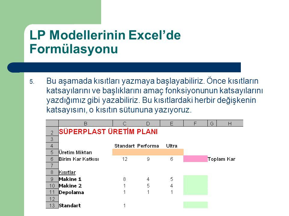 LP Modellerinin Excel'de Formülasyonu 5. Bu aşamada kısıtları yazmaya başlayabiliriz. Önce kısıtların katsayılarını ve başlıklarını amaç fonksiyonunun