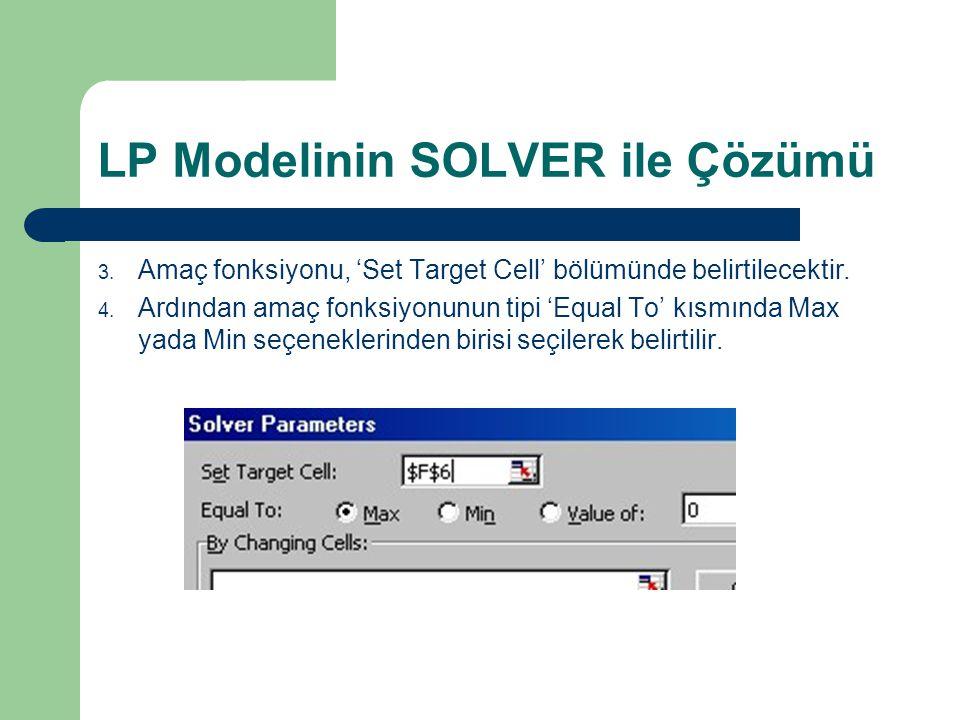 LP Modelinin SOLVER ile Çözümü 3. Amaç fonksiyonu, 'Set Target Cell' bölümünde belirtilecektir. 4. Ardından amaç fonksiyonunun tipi 'Equal To' kısmınd