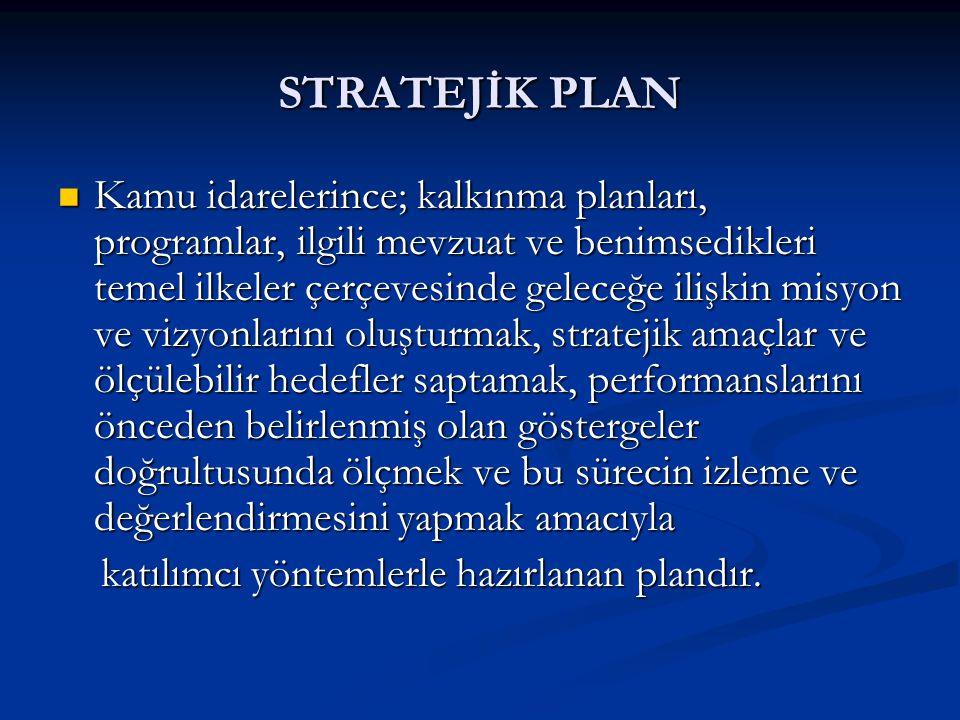 STRATEJİK PLAN Kamu idarelerince; kalkınma planları, programlar, ilgili mevzuat ve benimsedikleri temel ilkeler çerçevesinde geleceğe ilişkin misyon ve vizyonlarını oluşturmak, stratejik amaçlar ve ölçülebilir hedefler saptamak, performanslarını önceden belirlenmiş olan göstergeler doğrultusunda ölçmek ve bu sürecin izleme ve değerlendirmesini yapmak amacıyla Kamu idarelerince; kalkınma planları, programlar, ilgili mevzuat ve benimsedikleri temel ilkeler çerçevesinde geleceğe ilişkin misyon ve vizyonlarını oluşturmak, stratejik amaçlar ve ölçülebilir hedefler saptamak, performanslarını önceden belirlenmiş olan göstergeler doğrultusunda ölçmek ve bu sürecin izleme ve değerlendirmesini yapmak amacıyla katılımcı yöntemlerle hazırlanan plandır.