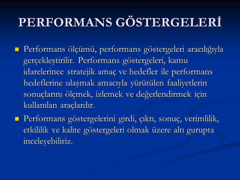 PERFORMANS GÖSTERGELERİ Performans ölçümü, performans göstergeleri aracılığıyla gerçekleştirilir.