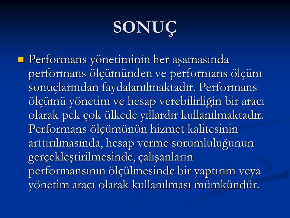 SONUÇ Performans yönetiminin her aşamasında performans ölçümünden ve performans ölçüm sonuçlarından faydalanılmaktadır.