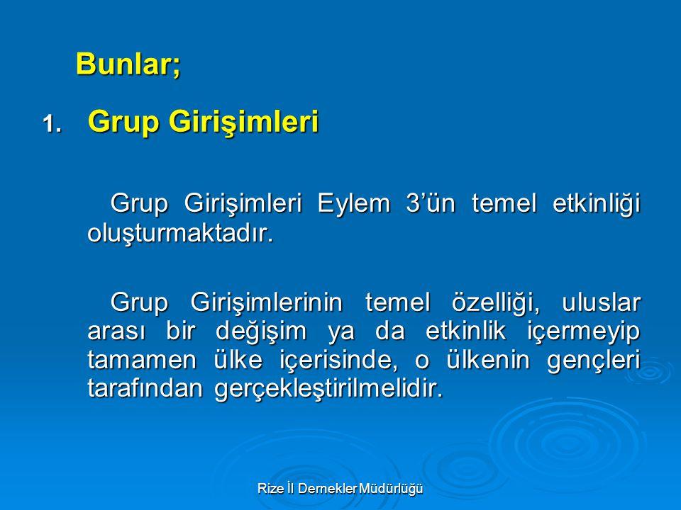 Rize İl Dernekler Müdürlüğü Bunlar; 1. Grup Girişimleri Grup Girişimleri Eylem 3'ün temel etkinliği oluşturmaktadır. Grup Girişimlerinin temel özelliğ