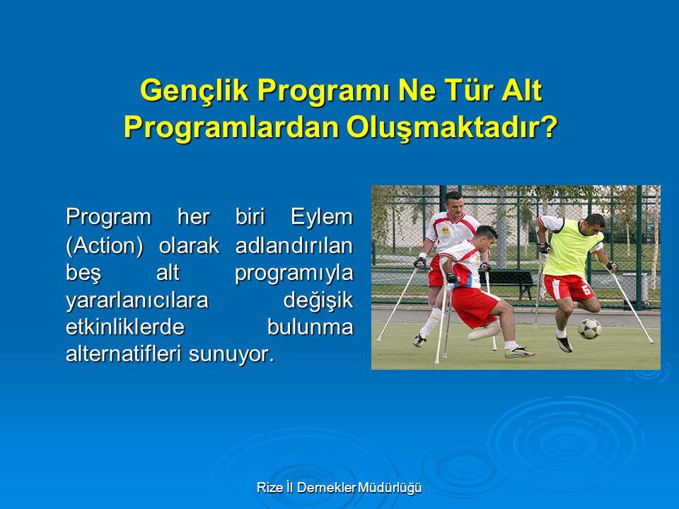 Rize İl Dernekler Müdürlüğü Gençlik Programı Ne Tür Alt Programlardan Oluşmaktadır? Program her biri Eylem (Action) olarak adlandırılan beş alt progra