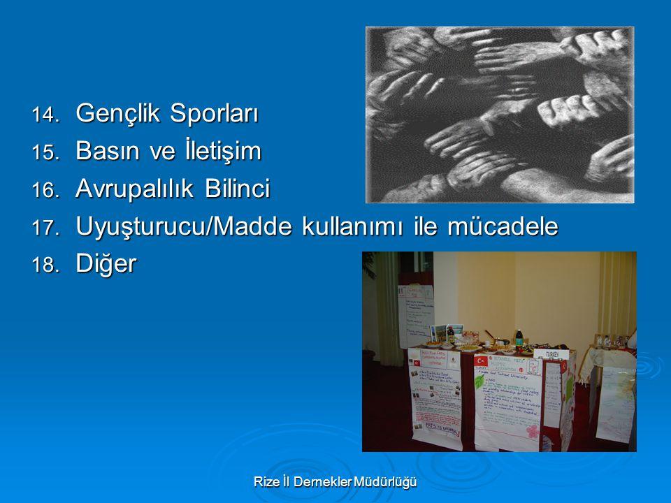 Rize İl Dernekler Müdürlüğü 14. Gençlik Sporları 15. Basın ve İletişim 16. Avrupalılık Bilinci 17. Uyuşturucu/Madde kullanımı ile mücadele 18. Diğer