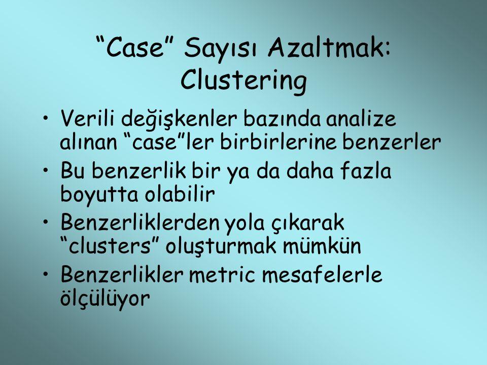 """""""Case"""" Sayısı Azaltmak: Clustering Verili değişkenler bazında analize alınan """"case""""ler birbirlerine benzerler Bu benzerlik bir ya da daha fazla boyutt"""