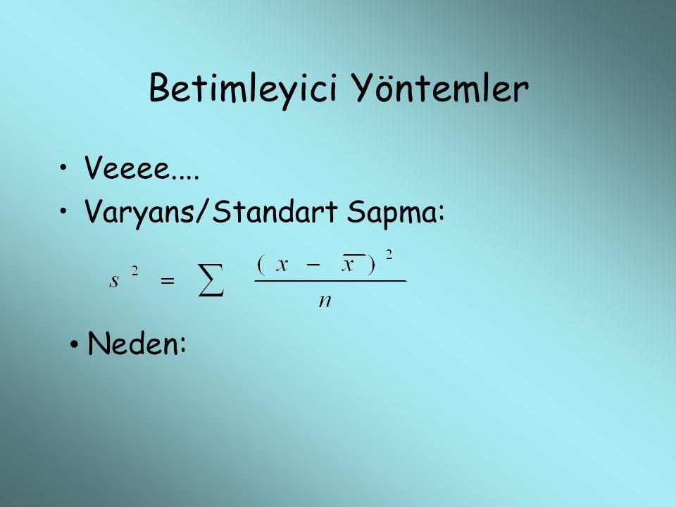Betimleyici Yöntemler Veeee.... Varyans/Standart Sapma: Neden: