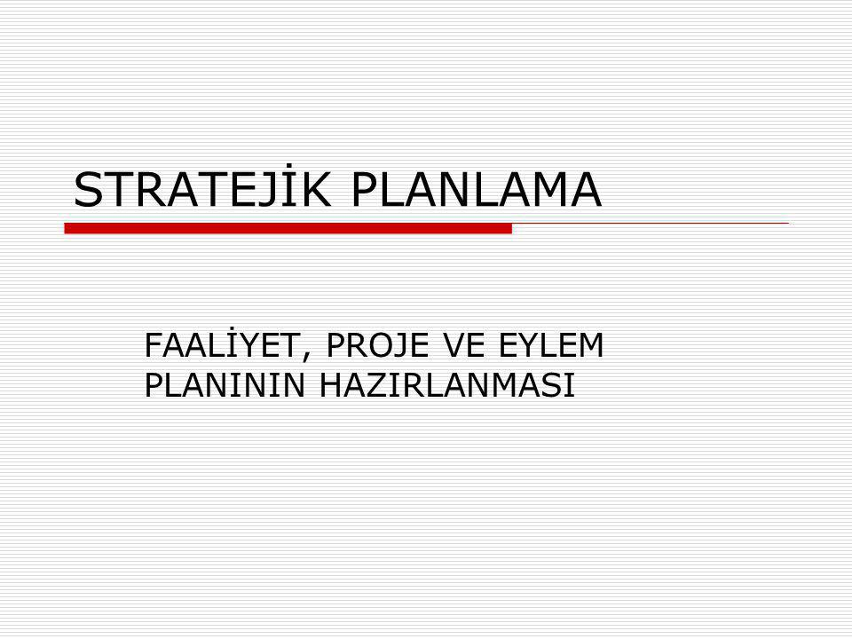 STRATEJİK PLANLAMA FAALİYET, PROJE VE EYLEM PLANININ HAZIRLANMASI