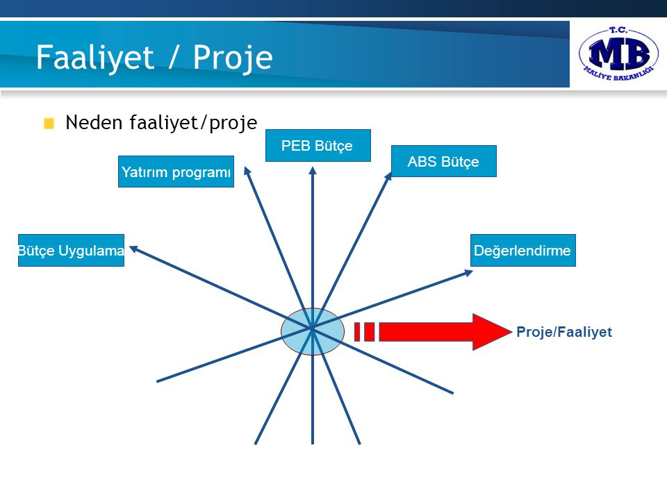 Faaliyet / Proje Neden faaliyet/proje ABS Bütçe Yatırım programı PEB Bütçe DeğerlendirmeBütçe Uygulama Proje/Faaliyet