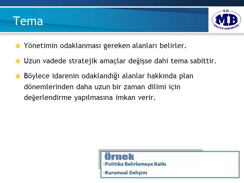 Tema Yönetimin odaklanması gereken alanları belirler.