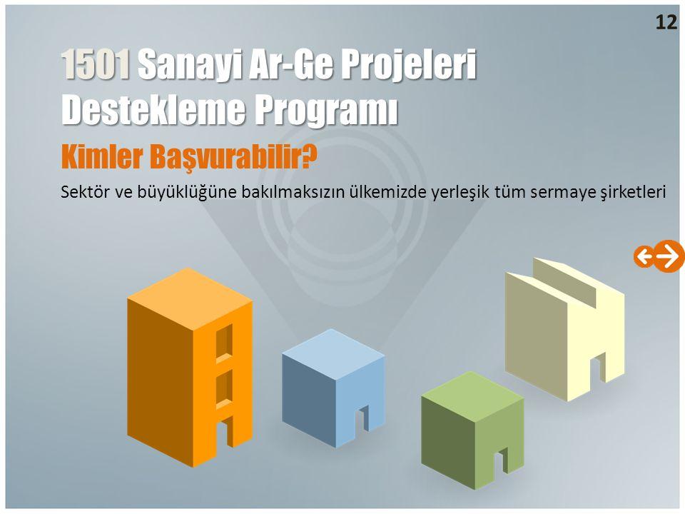 Kimler Başvurabilir? Sektör ve büyüklüğüne bakılmaksızın ülkemizde yerleşik tüm sermaye şirketleri 12 1501 Sanayi Ar-Ge Projeleri Destekleme Programı