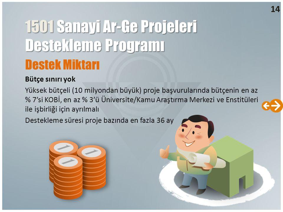 Destek Miktarı Bütçe sınırı yok Yüksek bütçeli (10 milyondan büyük) proje başvurularında bütçenin en az % 7'si KOBİ, en az % 3'ü Üniversite/Kamu Araşt